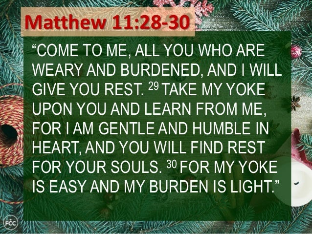 Image result for Matthew 11 28 30 christmas