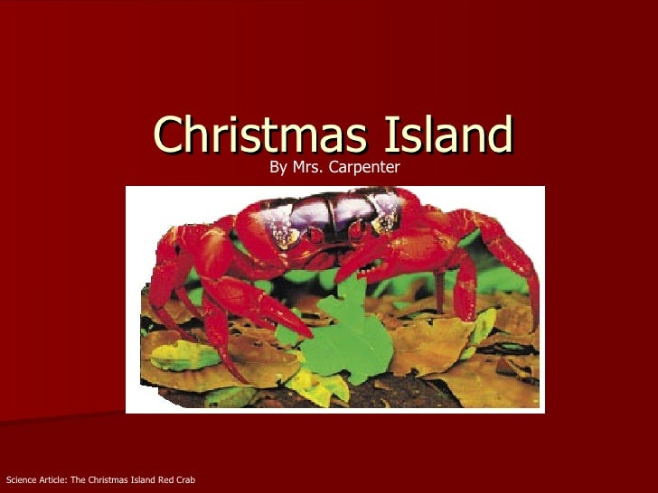 Christmas Island Science Article: The Christmas Island Red Crab By Mrs. Carpenter