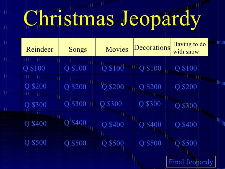christmas jeopardy reindeer songs movies decorations having to do with snow q 100 q 200 q - Christmas Jeopardy Game