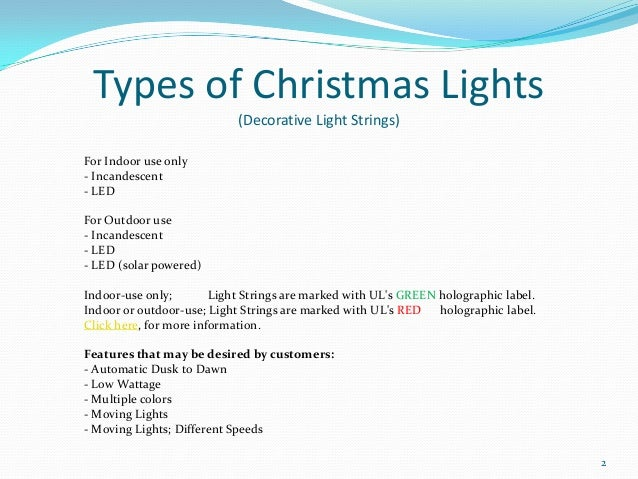 Types of christmas lights for Types of lights used in interiors