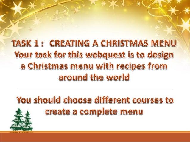 Christmas menu - Webquest Slide 3