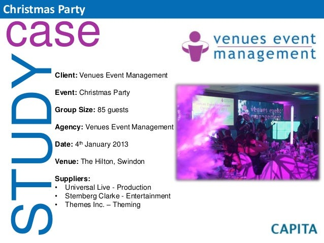 Christmas Partycase STUDY   Client: Venues Event Management         Event: Christmas Party         Group Size: 85 guests  ...