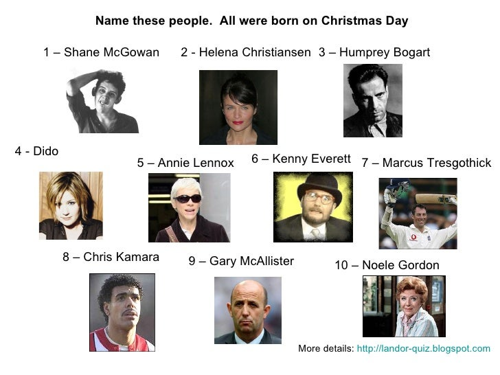 People Born on Christmas Day Picture Quiz