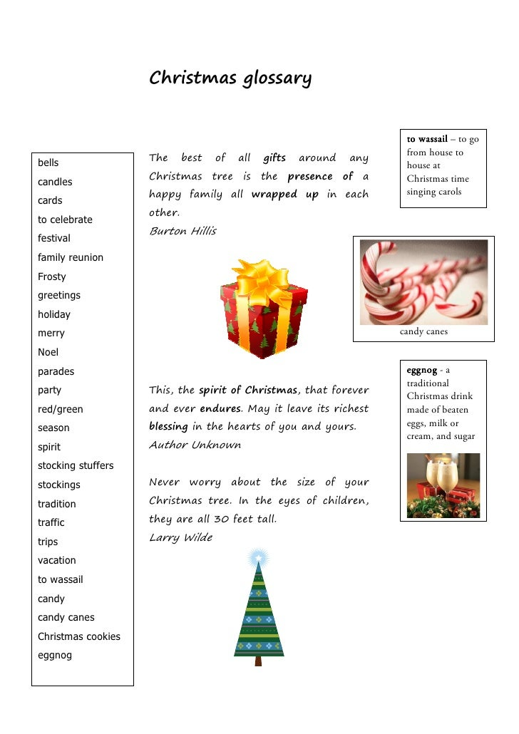 Christmas glossary                                                                          to wassail – to go            ...