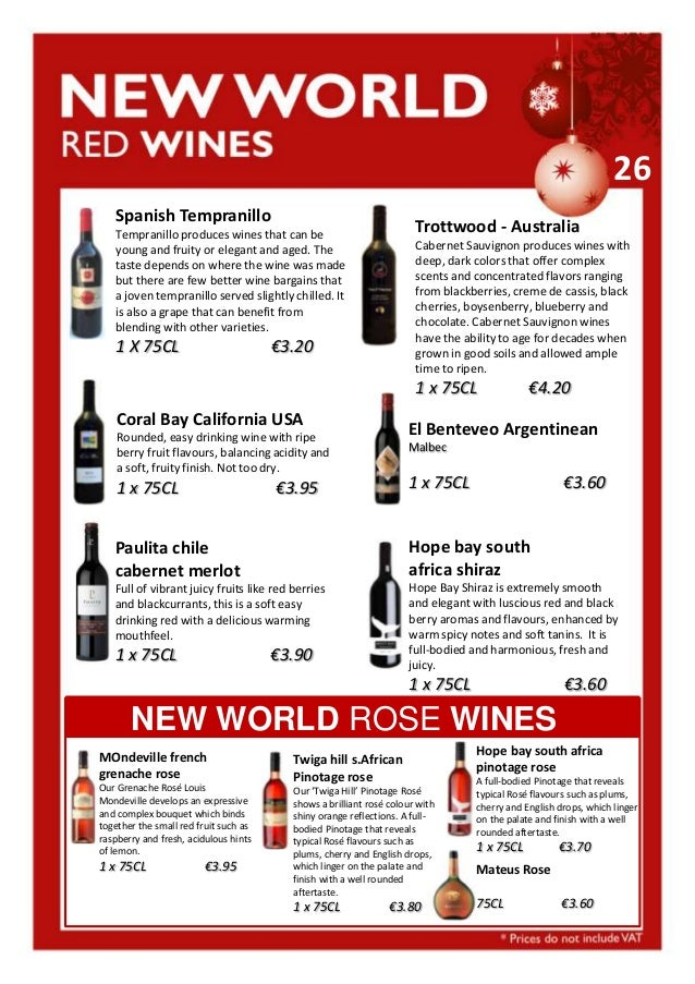 26 Spanish Tempranillo  Trottwood - Australia  Tempranillo produces wines that can be young and fruity or elegant and aged...