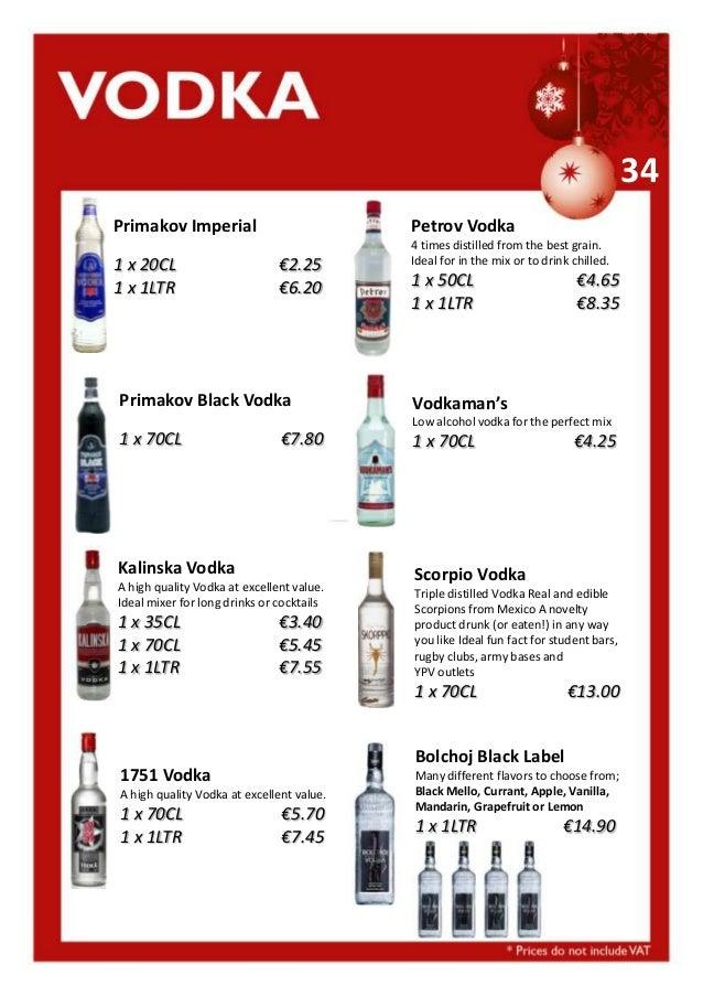 34 Primakov Imperial 1 x 20CL 1 x 1LTR  Petrov Vodka €2.25 €6.20  Primakov Black Vodka  4 times distilled from the best gr...