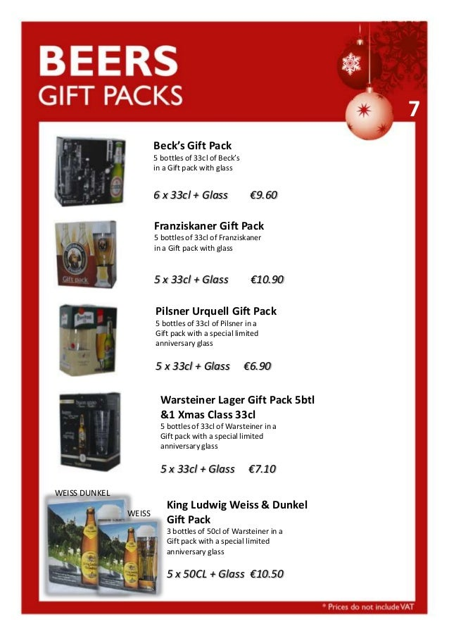 7 Beck's Gift Pack 5 bottles of 33cl of Beck's in a Gift pack with glass  6 x 33cl + Glass  €9.60  Franziskaner Gift Pack ...