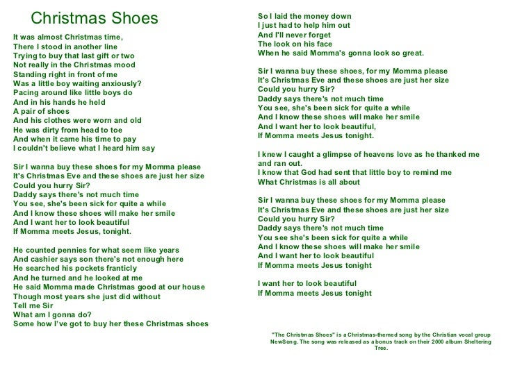 Christmas Shoes Lyrics.Christmas Shoes 1 Slide