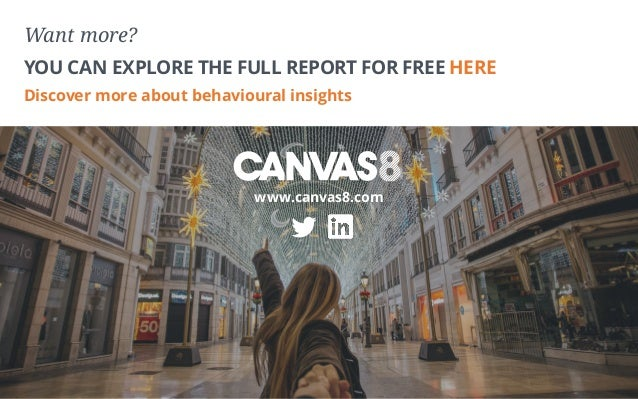 Want more? YOU CAN EXPLORE THE FULL REPORT FOR FREE HERE Discover more about behavioural insights www.canvas8.com