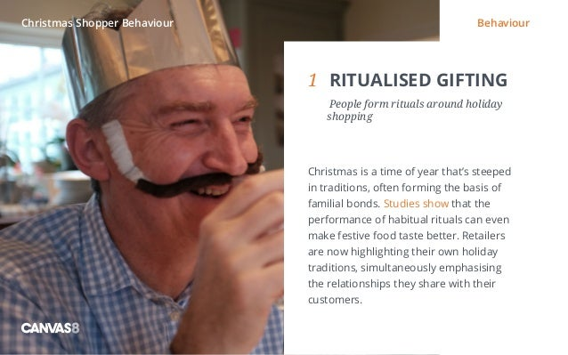 Eating and drinking / 1 1 RITUALISED GIFTING  People form rituals around holiday shopping Christmas is a time of year th...