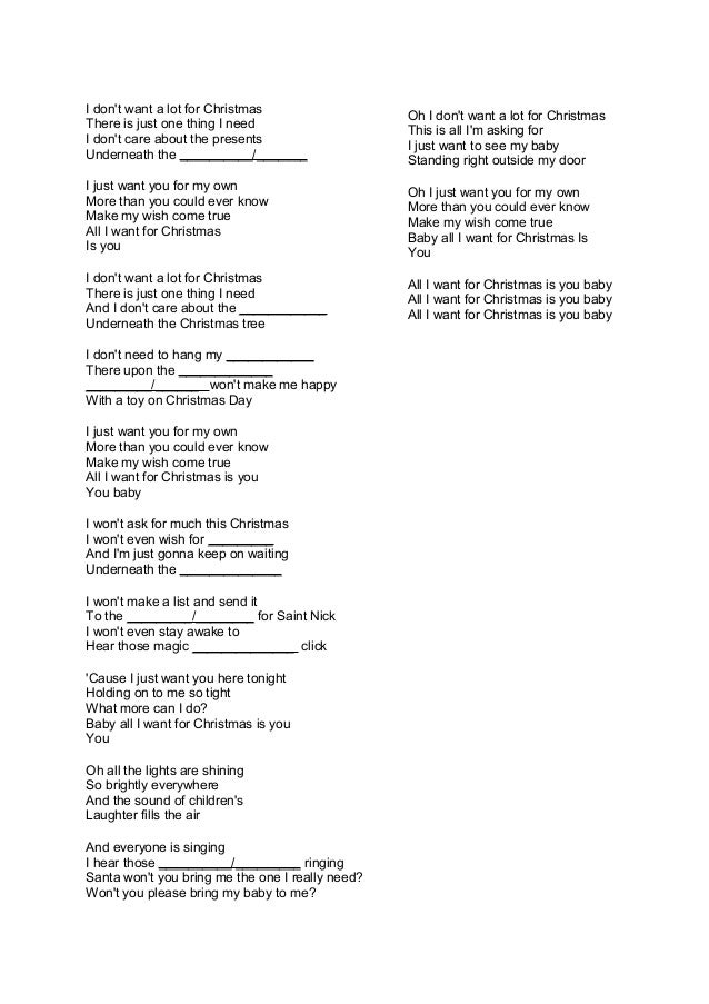 Lyrics All I Want For Christmas.Christmas Song Lyrics