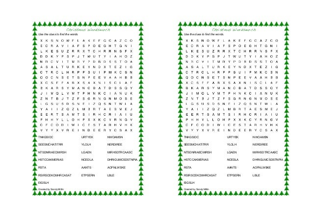 Christmas Wordsearch Use the clues to find the words.  Christmas Wordsearch Use the clues to find the words.  TNKGSIOC  UR...