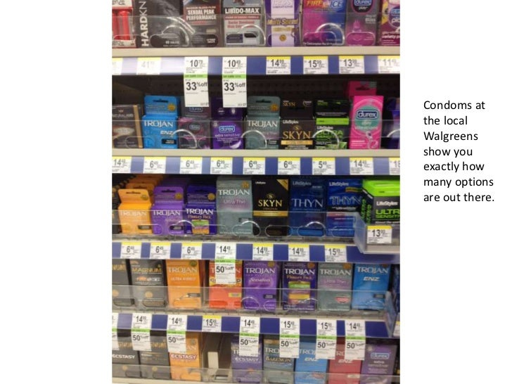 Condoms atthe localWalgreensshow youexactly howmany optionsare out there.