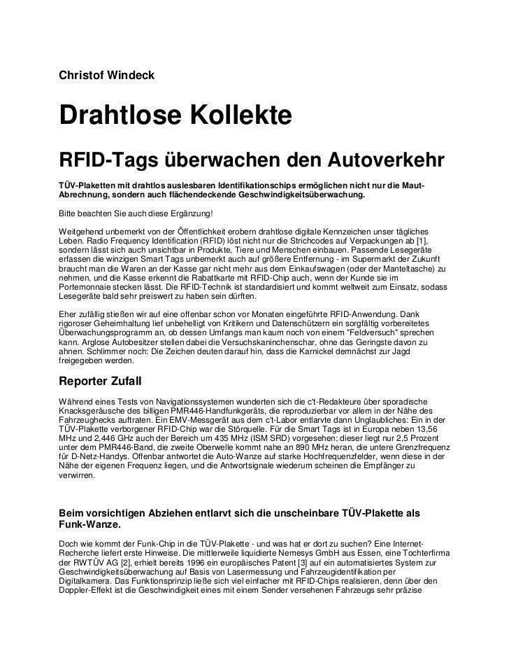 Christof WindeckDrahtlose KollekteRFID-Tags überwachen den AutoverkehrTÜV-Plaketten mit drahtlos auslesbaren Identifikatio...