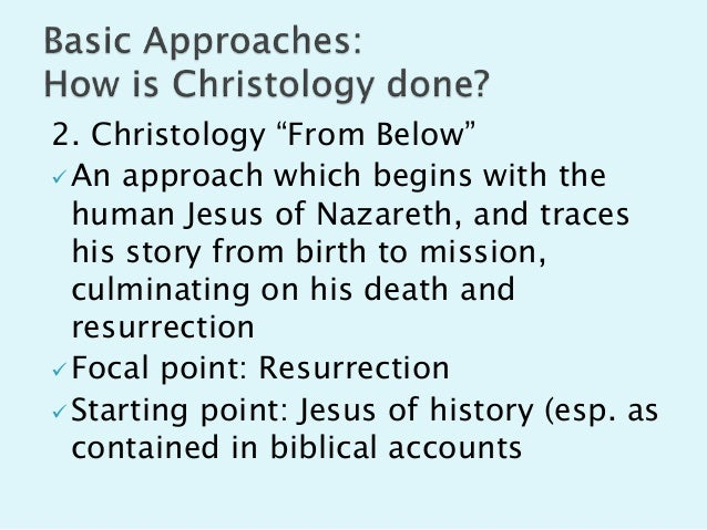 christology notes The gospel according to john develops a christology—an explanation of christ's nature and origin—while leaving out much of the familiar material that runs through the synoptic gospels of matthew, mark and luke, including jesus's short aphorisms and parables, references to jesus's background, and proclamations about the kingdom of god.