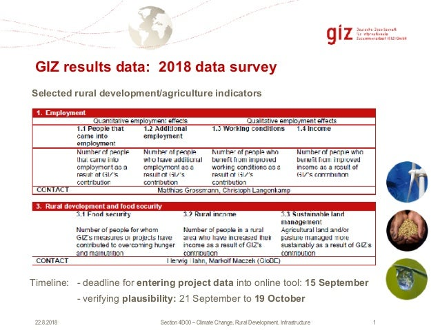 Section 4D00 – Climate Change, Rural Development, Infrastructure !122.8.2018 GIZ results data: 2018 data survey Timeline: ...