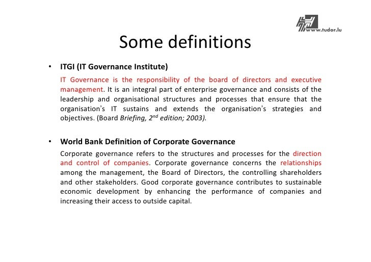 an introduction to the methods to provide good corporate governance in companies Introduction corporate governance is the broad term desribes the processes, customs, policies, laws and institutions  good corporate governance is fundamental .
