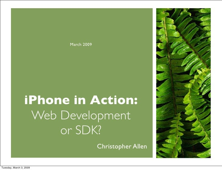 March 2009                      iPhone in Action:                   Web Development                       or SDK?         ...