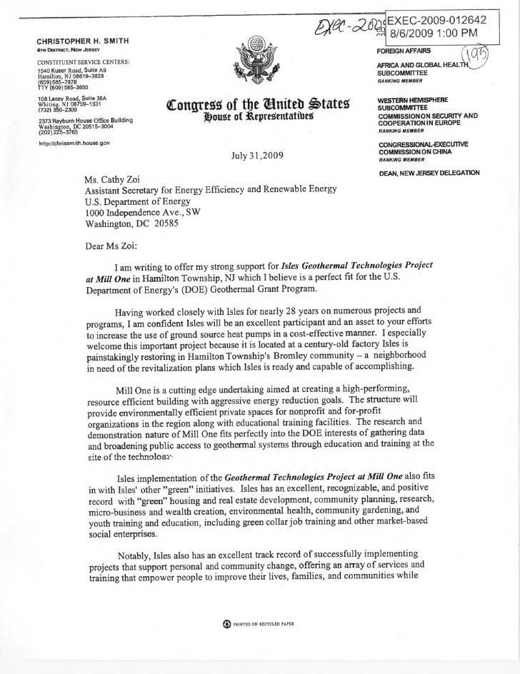 Rep. Chris Smith (R-NJ) asks for DOE clean energy grant