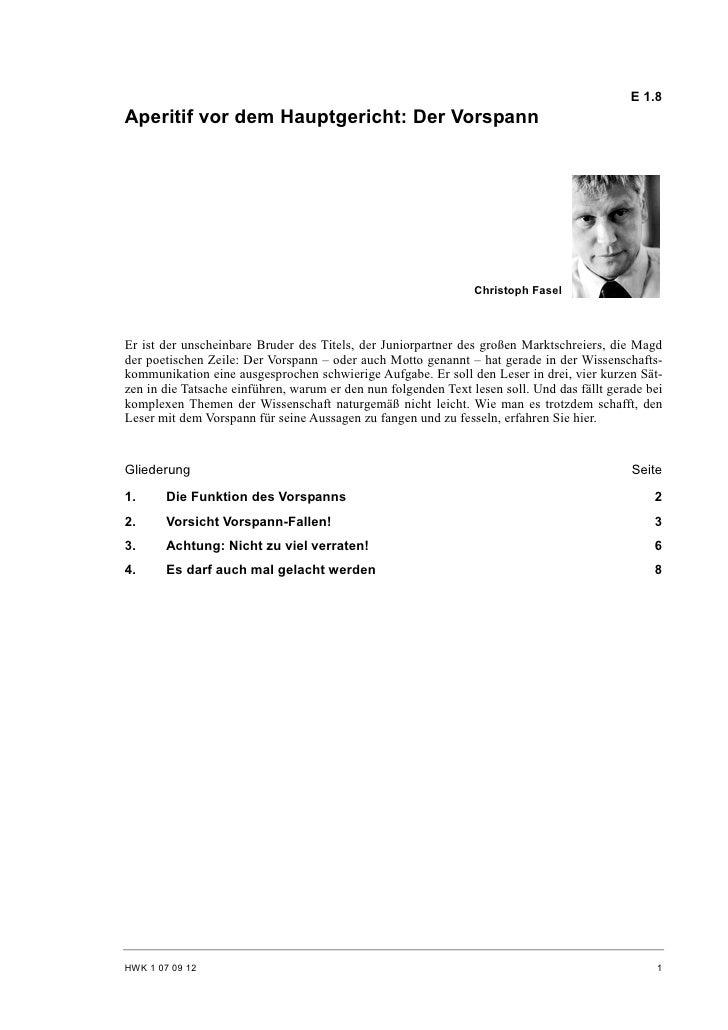 E 1.8 Aperitif vor dem Hauptgericht: Der Vorspann                                                                     Chri...
