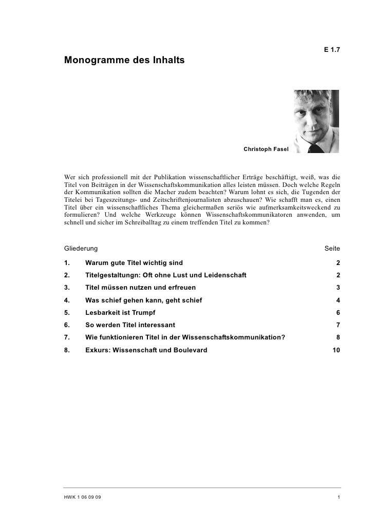 E 1.7 Monogramme des Inhalts                                                                   Christoph Fasel    Wer sich...