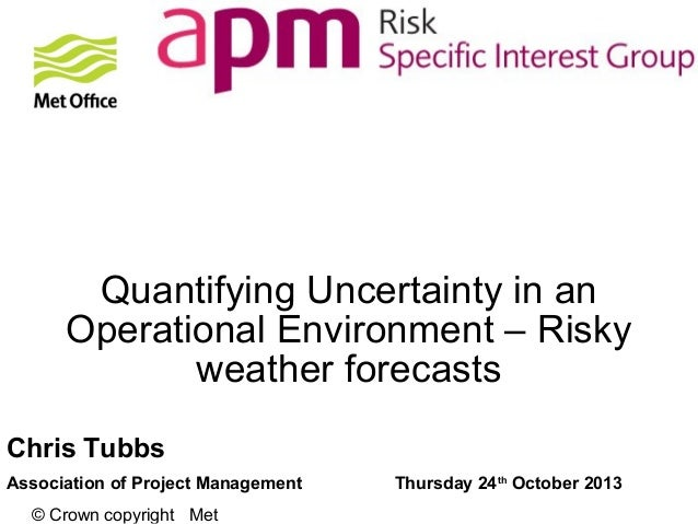 Quantifying Uncertainty in an Operational Environment – Risky weather forecasts Chris Tubbs Association of Project Managem...