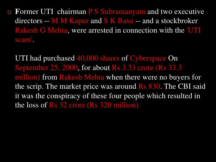Former UTI  chairman P S Subramanyam and two executive directors -- M M Kapur and S K Basu -- and a stockbroker Rakesh G M...