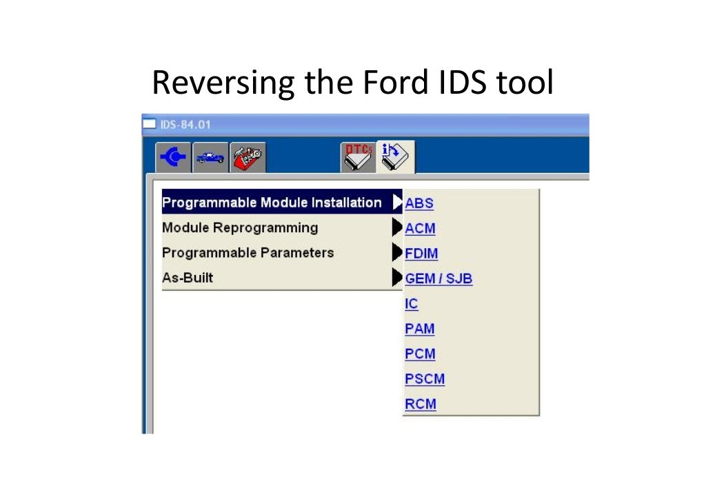 Reversing the Ford IDS tool