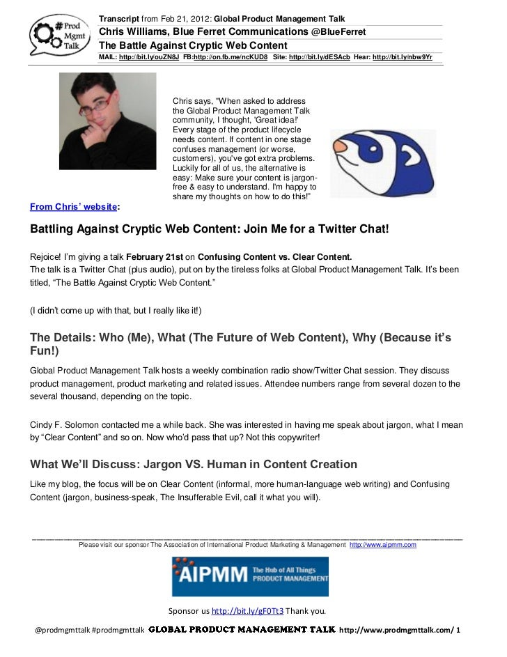 Transcript from Feb 21, 2012: Global Product Management Talk                    Chris Williams, Blue Ferret Communications...