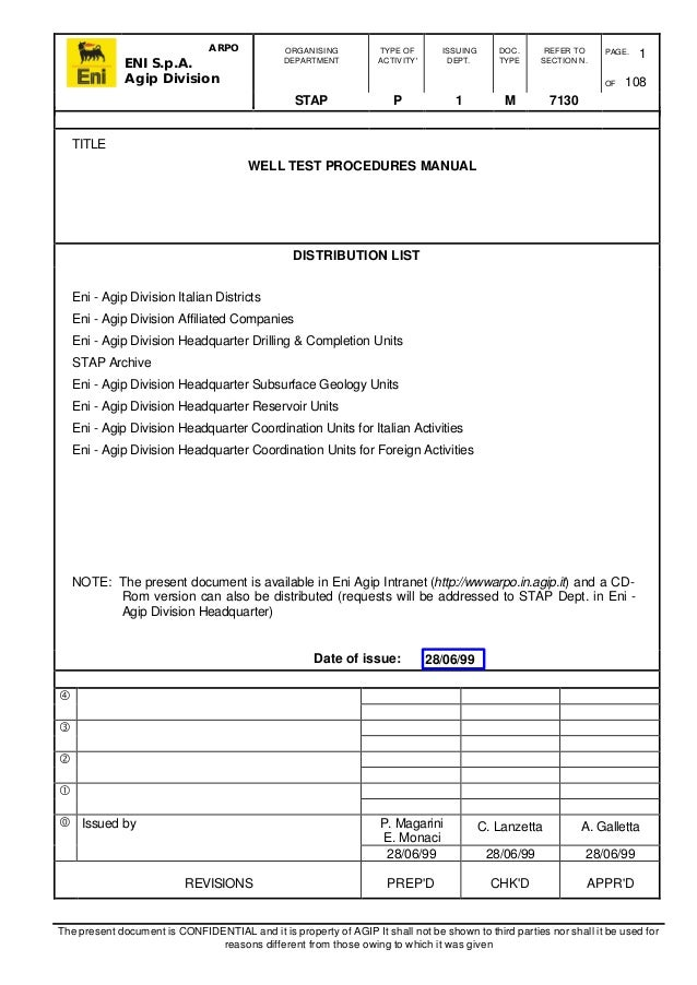 Well test procedures manual for Testing procedures template