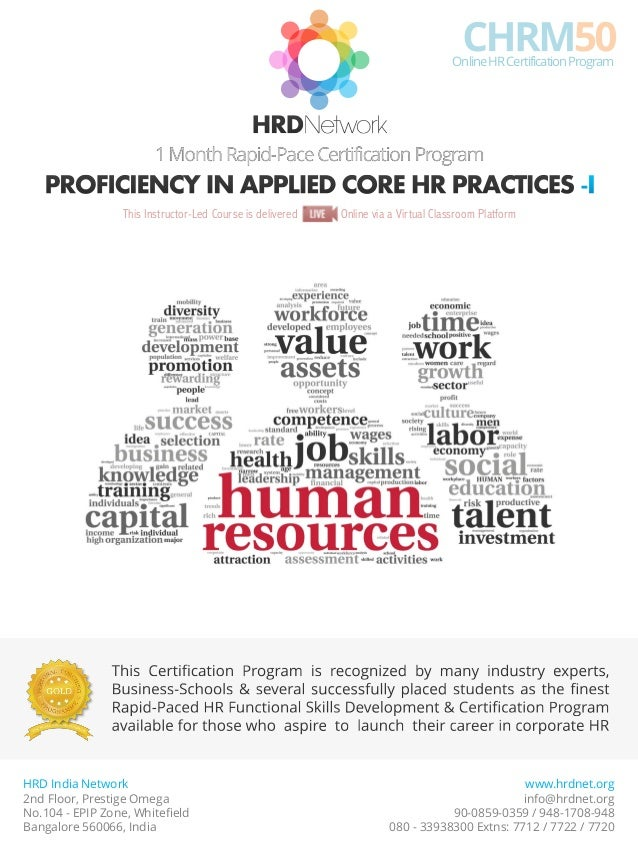 Chrm50 Rapid Pace Certificate In Applied Core Hr Practices 1 Month