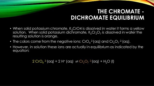 chromate and dichromate equilibrium lab answers