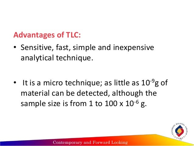 ?advantages of thin layer chromatography (tlc) essay Chemistry assignment essay help theory writing: solutions of transition metal salts chemistry assignment essay help and purified by thin layer chromatography (tlc.