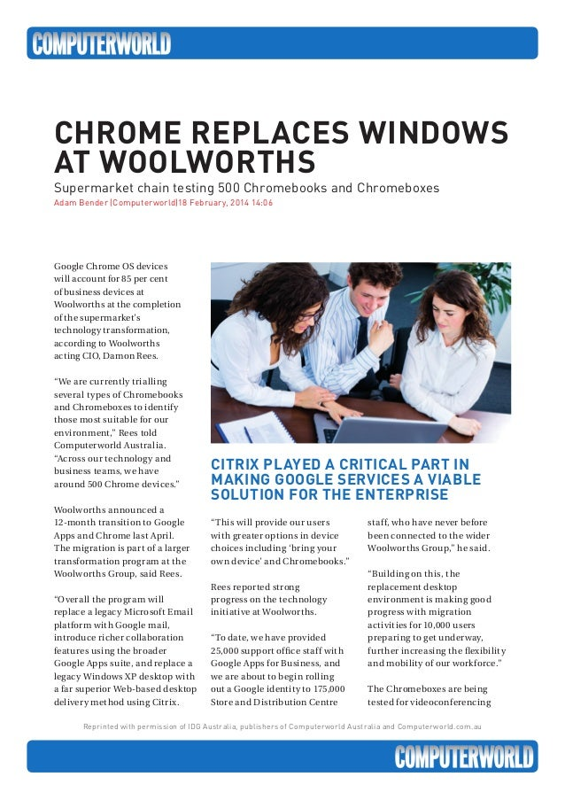 Reprinted with permission of IDG Australia, publishers of Computerworld Australia and Computerworld.com.au Google Chrome O...
