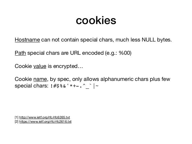 cookies Hostname can not contain special chars, much less NULL bytes.  Path special chars are URL encoded (e.g.: %00)  Coo...