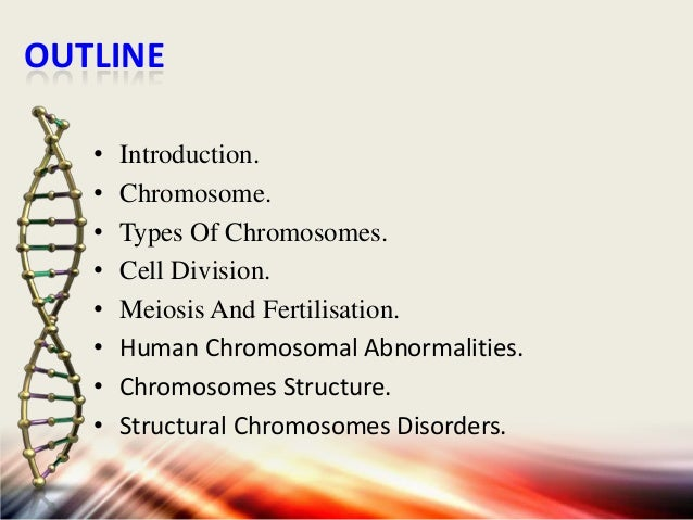 OUTLINE • • • • • • • •  Introduction. Chromosome. Types Of Chromosomes. Cell Division. Meiosis And Fertilisation. Human C...