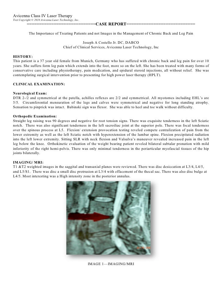 Chronic Back Pain Case Study