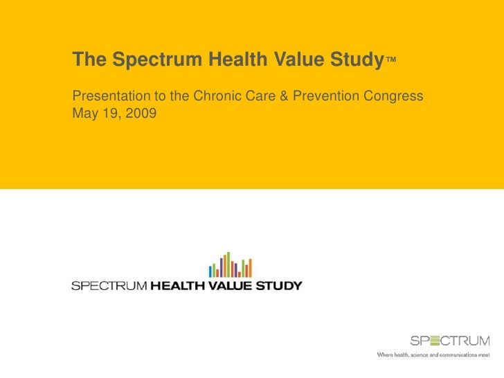 The Spectrum Health Value Study™ Presentation to the Chronic Care & Prevention Congress May 19, 2009