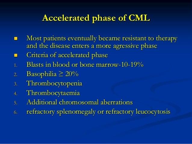 Blast phase (blast crisis) of CML • Criteria of blast phase 1. Blasts ≥20% 2. extramedullary tumors • Phenotype of blasts ...