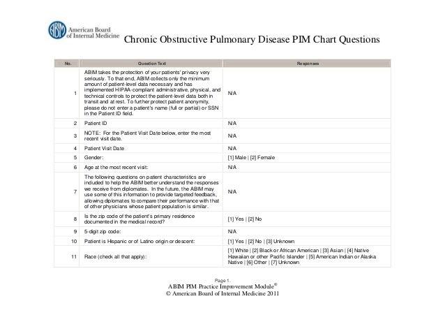 Chronic Obstructive Pulmonary Disease PIM Chart QuestionsNo.                               Question Text                  ...