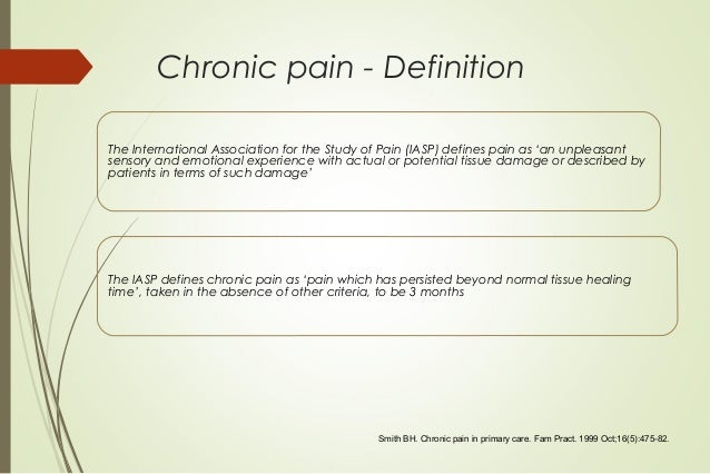 chronic pain concept analysis Design rodgers evolutionary model of concept analysis was used to   persistent, or chronic, pain is a complex physical and psychological.