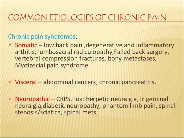 pain management interventions and chronic pain disorders Prevents early and aggressive intervention that could prevent chronic problems  neurological disorders,  emerging best practices in chronic pain management.