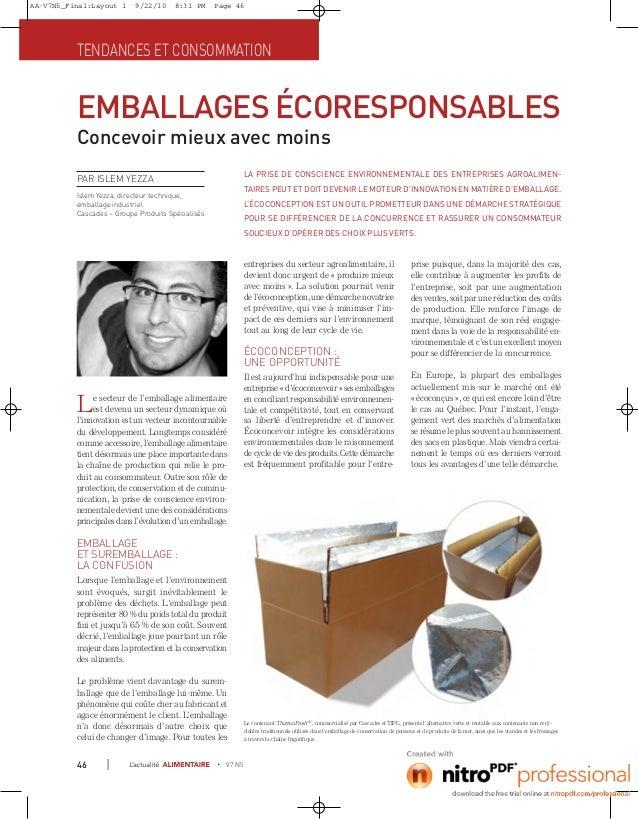 AA-V7N5_Final:Layout 1     9/22/10     8:31 PM     Page 46          TENDANCES ET CONSOMMATION          EMBALLAGES ÉCORESPO...