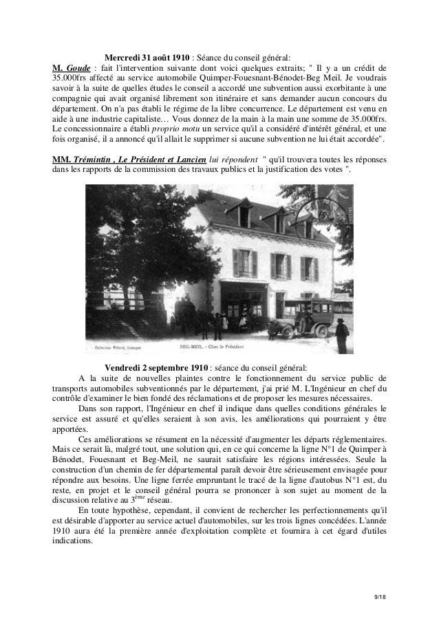 """Mercredi 31 août 1910 : Séance du conseil général: M. Goude : fait l'intervention suivante dont voici quelques extraits; """"..."""
