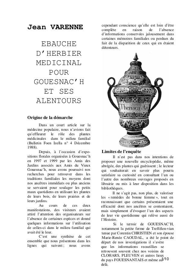 Jean VARENNE  EBAUCHE D'HERBIER MEDICINAL POUR GOUESNAC'H ET SES ALENTOURS  cependant conscience qu'elle est loin d'être c...