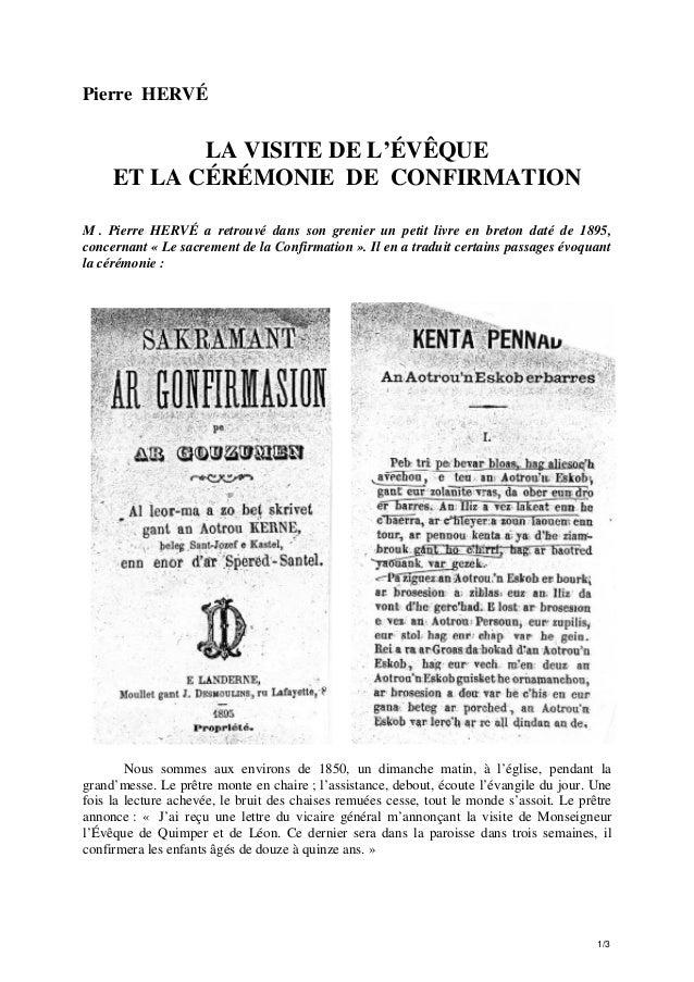 Pierre HERVÉ  LA VISITE DE L'ÉVÊQUE ET LA CÉRÉMONIE DE CONFIRMATION M . Pierre HERVÉ a retrouvé dans son grenier un petit ...