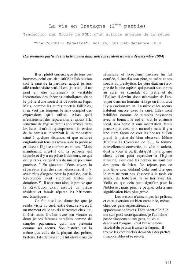 """La vie en Bretagne (2ème partie) Traduction par Nicole Le FOLL d'un article anonyme de la revue """"The Cornhill Magazine"""", v..."""