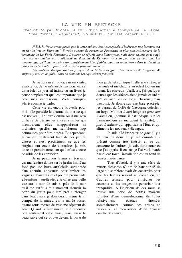 """LA VIE EN BRETAGNE Traduction par Nicole Le FOLL d'un article anonyme de la revue """"The Cornhill Magazine"""", volume XL, juil..."""