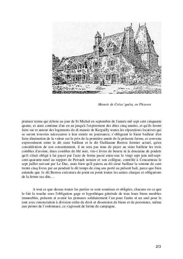Manoir de Créac'quéta, en Pleuven  premier terme qui échoie au jour de St Michel en septembre de l'année mil sept cent cin...