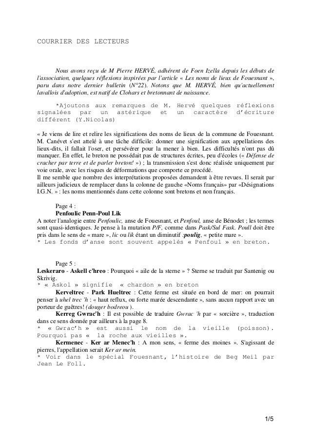 COURRIER DES LECTEURS  Nous avons reçu de M Pierre HERVÉ, adhérent de Foen Izella depuis les débuts de l'association, quel...